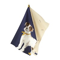 Joules Pawcasso Tea Towel Set Of 2 Navy Dog