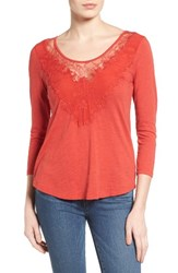 Lucky Brand Women's Lace Inset Tee Spice Paprika