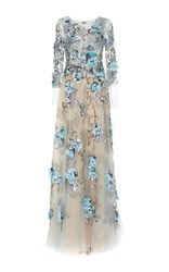 Marchesa Embellished Full Length Ball Gown Blue