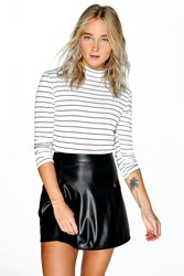 Boohoo Stripe Turtle Neck Rib Knit Jumper White