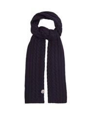 Moncler Cable Knit Wool Scarf Navy