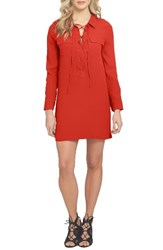 1.State Women's Lace Up Shirtdress Poppy Red