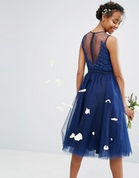 Chi Chi London Embroidered Tulle Midi Dress With Button Back Navy