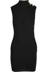 Balmain Ribbed Stretch Knit Mini Dress Black