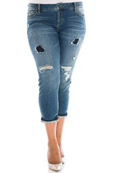 Slink Jeans Plus Size Women's Ripped Crop Boyfriend