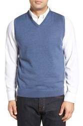 John W. Nordstrom Wool V Neck Sweater Vest Big Blue