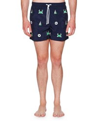 Thom Browne Icon Embroidered Swim Shorts Navy