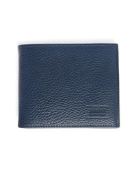 Armani Collezioni Blue Grained Leather Wallet With Coin Purse Inside