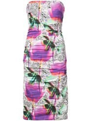 Nicole Miller Fitted Silhouette Strapless Dress Pink And Purple