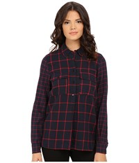 Blank Nyc Plaid Shirt Red Navy Blue Women's Clothing