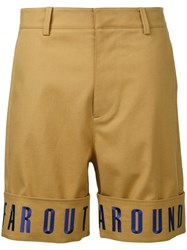 General Idea Embroidered Hem Shorts Brown