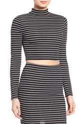 Women's Missguided Stripe Turtleneck Crop Top
