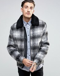 Asos Wool Mix Bomber Jacket In Brushed Check With Borg Collar Black