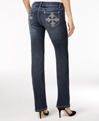 Project Indigo Juniors' Embellished Barely Bootcut Jeans Dark Wash