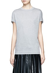 Toga Archives Knotted Back Fringe Cotton T Shirt Grey
