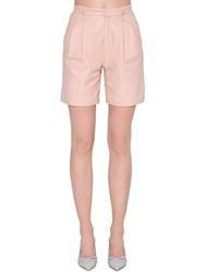Red Valentino High Rise Leather Shorts Pink