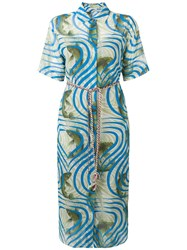 Odeeh Koi Fish Print Shirt Dress Green