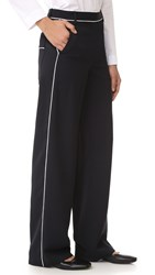 Tibi Wid Leg Pants With Patch Pockets Black