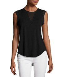 1.State Chiffon Trim Cap Sleeve Blouse Black