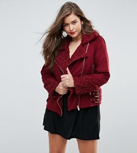 Missguided Plus Shearling Borg Aviator Jacket Burgundy Red