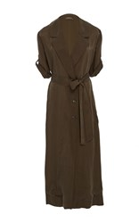 Hensely Belted Trench Dress Brown