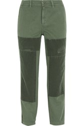 J.Crew Sunday Patchwork Cotton Twill Straight Leg Pants Army Green