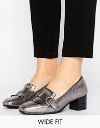 New Look Wide Fit Fringe Buckle Heeled Loafer Gunmetal Pewter Grey