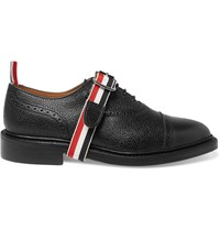 Thom Browne Grosgrain Trimmed Pebble Grain Leather Brogues Black