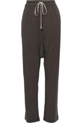 Rick Owens Drkshdw By Woman Cotton Jersey Track Pants Dark Gray