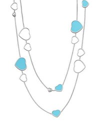 Chopard Happy Hearts 18K White Gold Turquoise And Diamond Long Station Necklace