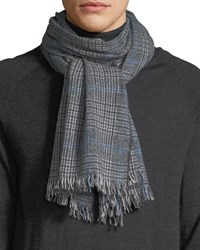 Neiman Marcus Glen Plaid Cashmere Scarf Gray Blue