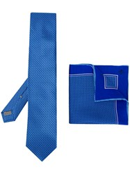 Canali Printed Tie And Pocket Square Set Blue