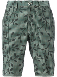 08Sircus Gingham And Floral Print Shorts Green