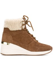 Michael Michael Kors Shearling Trim Ankle Boots Brown