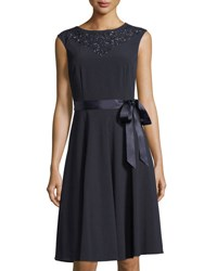 Tahari By Arthur S. Levine Beaded A Line Dress Navy