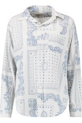 Current Elliott The Prep School Printed Cotton Shirt Ecru