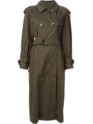 Celine Vintage Long Trench Coat Green