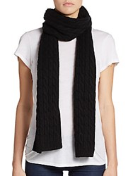 Cole Haan Wool Cable Knit Scarf Black