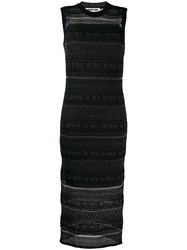 Mcq By Alexander Mcqueen Patterned Knit Midi Dress Black