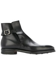 Crockett Jones And Buckled Boots Leather Rubber 7.5 Black