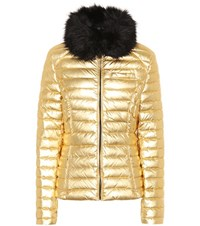 Hunter Faux Fur Trimmed Down Coat Gold