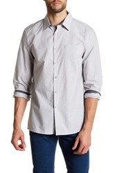Kenneth Cole Long Sleeve Solid Pocket Woven Shirt Gray