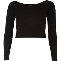River Island Womens Black Bardot Wrap Crop Top