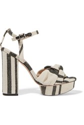 Loeffler Randall Arbella Twist Front Canvas Sandals Off White