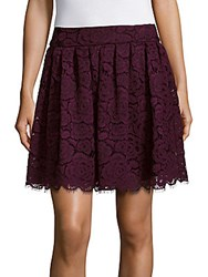 Alice Olivia Floral Lace A Line Skirt Plum