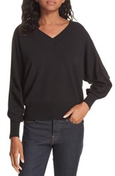 Brochu Walker Ashbey V Neck Cotton Sweater Black Onyx