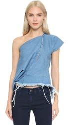 Marques Almeida One Shoulder Front Slit Denim Top Mid Blue