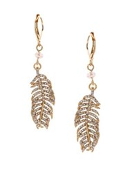 Lonna And Lilly Worn Goldtone Feather Drop Earrings