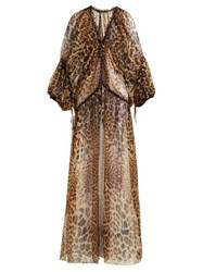 Saint Laurent Leopard Print Sheer Silk Mousseline Dress Leopard