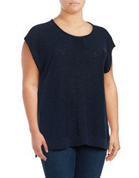 Jones New York Plus Extended Shoulder Woven Blouse Blue